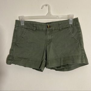 American Eagle Forest Green Midi Stretch Shorts
